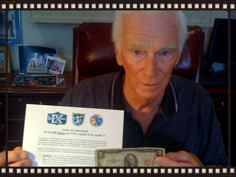 Captain Cernan with the bill and flight certification letter, August, 2010.