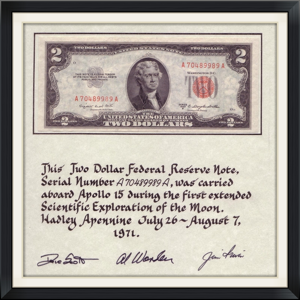 An image of the official flight certification of this lunar orbit flown $2 bill, including serial number and original crew signatures.