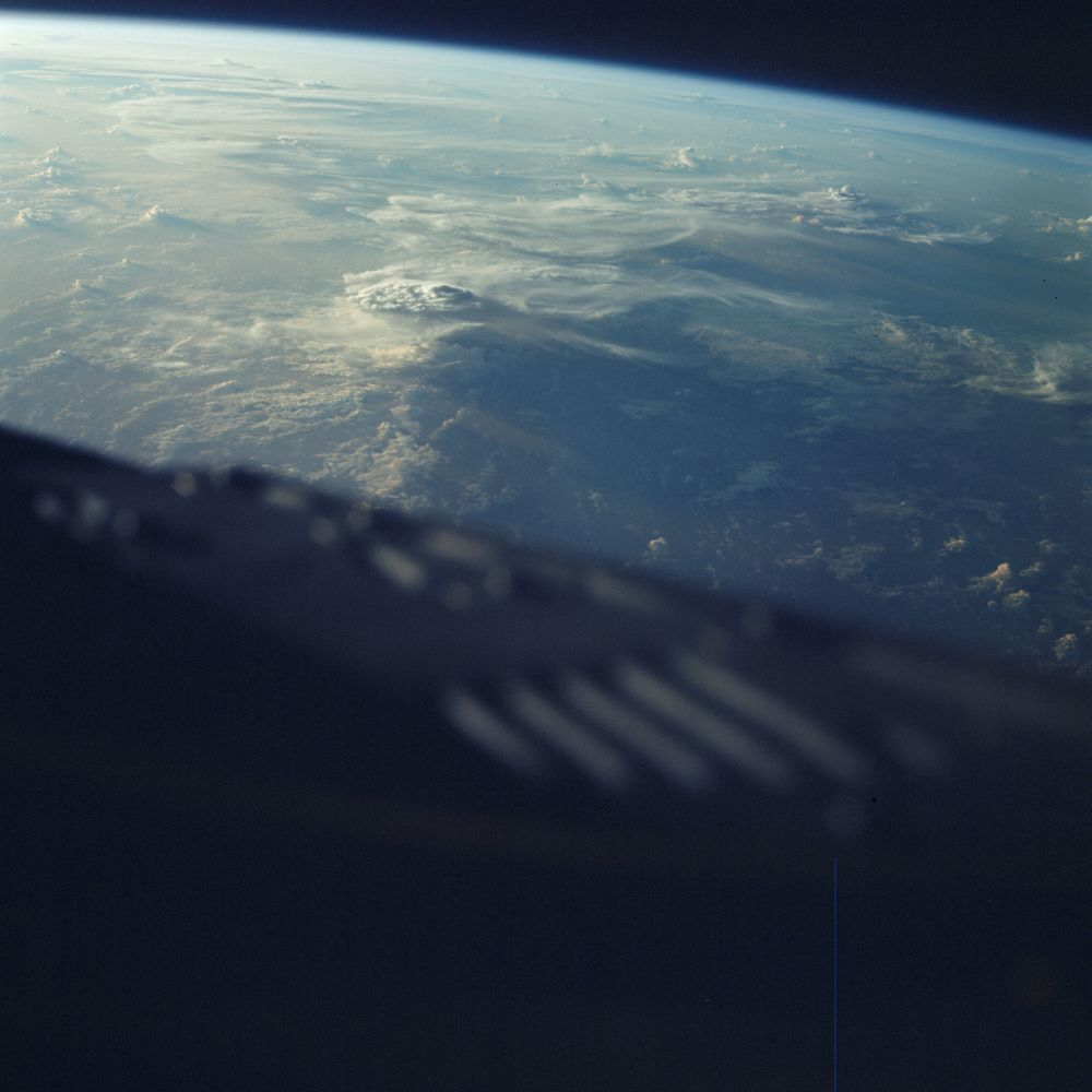 Cloud formations as photographed by the crew of Gemini 3 from their capsule window.