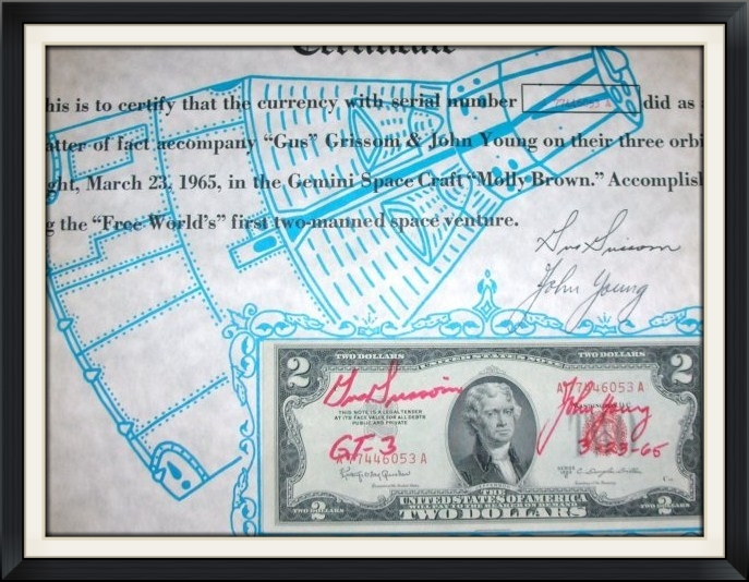 The official, vintage flight certification of the flown Gemini 3 bill -- both the bill and the certificates are hand signed. The certificate includes the matching serial number for the bill.