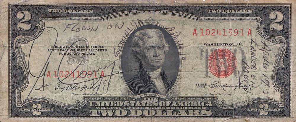 The rarest and most traveled $2 bill on the planet, which also holds the world's speed record for a manned vehicle flight! This is one impressive bill.