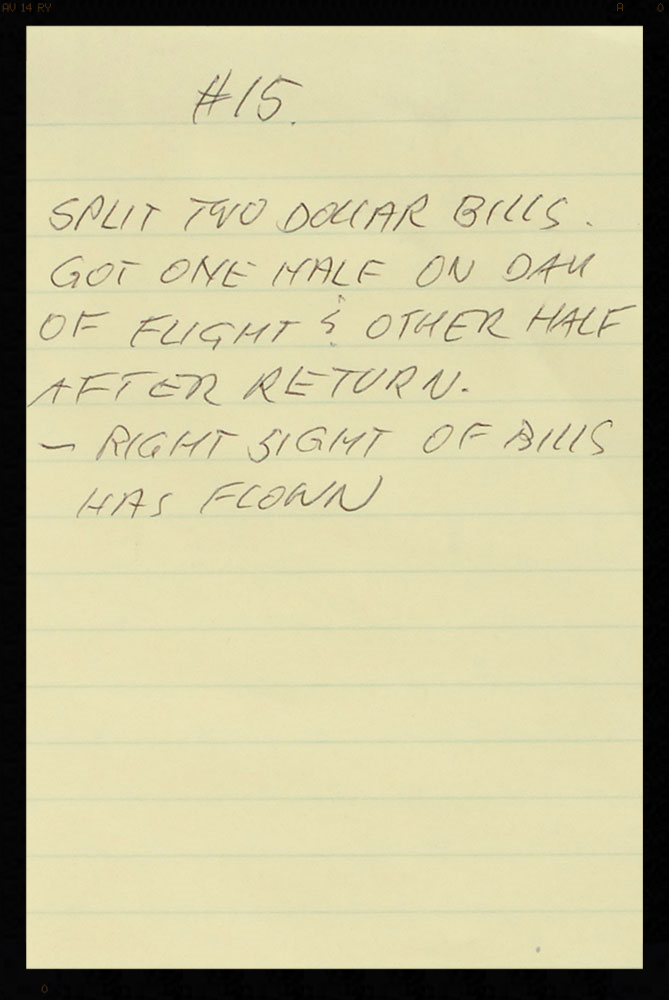 Guenter's original hand written LOA about the bills.