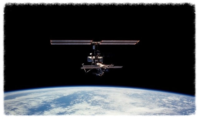 The International Space Station in low Earth orbit in its 2001 configuration.