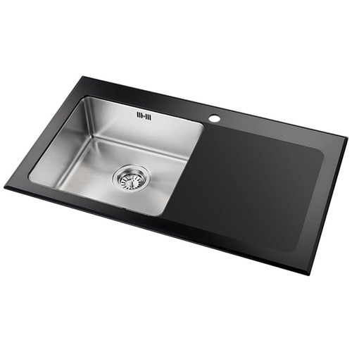 Astini Celso 1.0 Bowl Black Glass & Stainless Steel Kitchen Sink ...