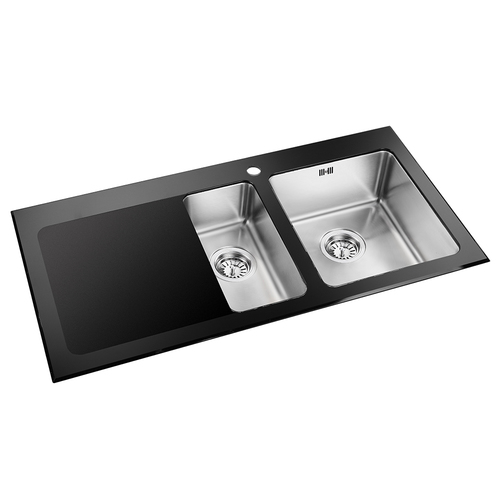 Astini celso 15 bowl black glass stainless steel kitchen sink astini celso 15 bowl black glass stainless steel kitchen sink as103blk workwithnaturefo