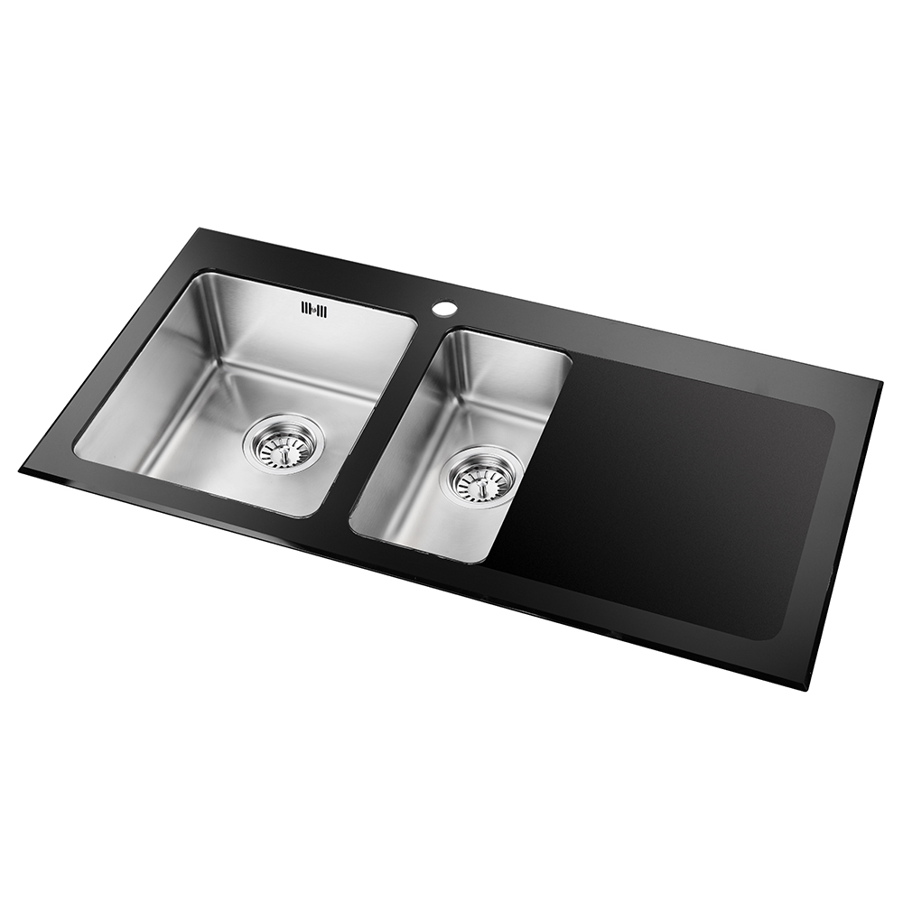 Astini Celso 1.5 Bowl Black Glass & Stainless Steel Kitchen Sink ...