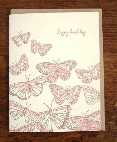 Butterflies letterpress greeting card
