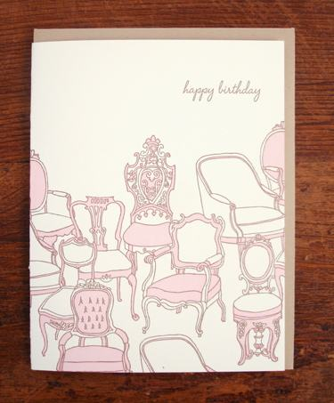 Chairs letterpress birthday card
