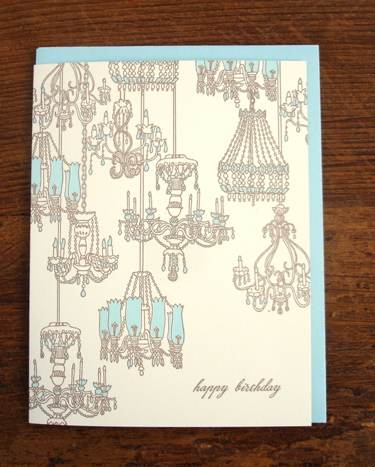 Chandeliers letterpress birthday card
