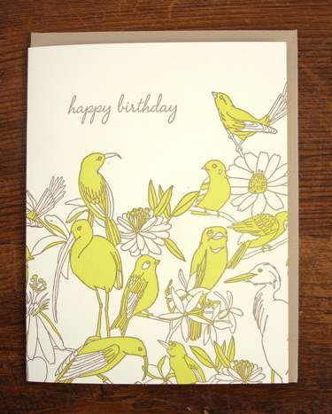 Tropical birds letterpress birthday card