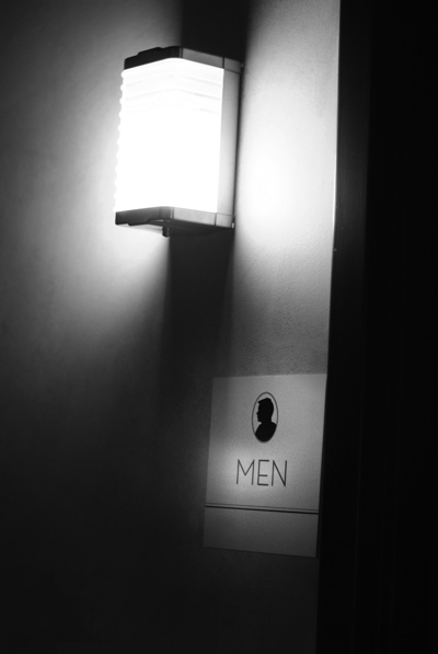Men's room signage by Hello!Lucky