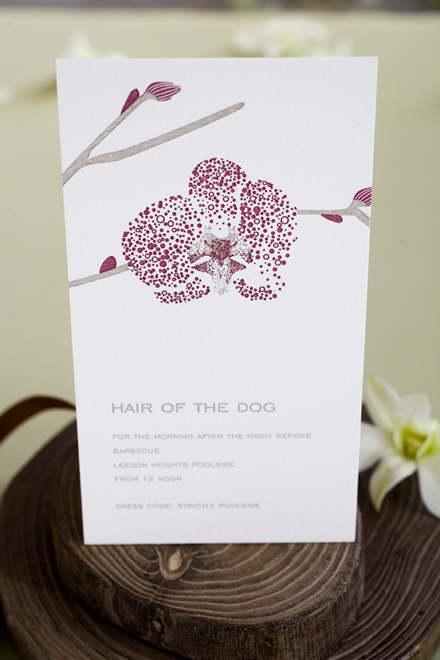 Orchid wedding invitation set orchid hair of the dog invitation