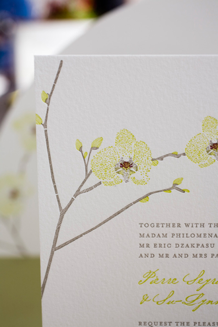 Orchid Wedding Invitation Closeup