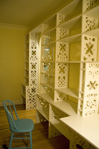 Eunice's custom book shelves