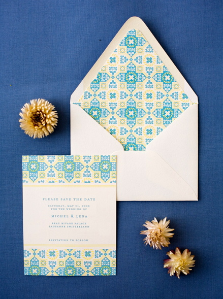Geometric save the date card