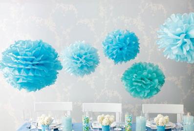 Blue pom poms