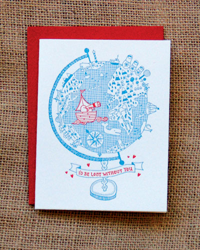 Lost without you greeting card by Kate Sutton
