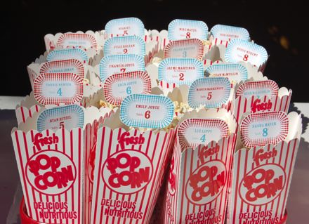 popcorn bag seating cards
