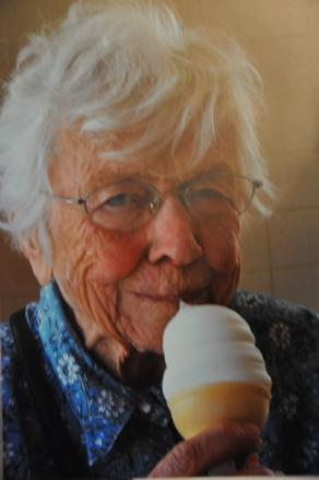 Grandma eating icecream