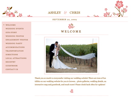 Cherry Blossom Wedding Website