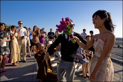 Angie Tossing Bouquet