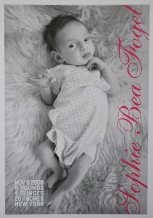 Sophie's birth announcement