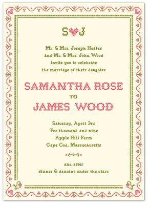 Cross stitch Invitation