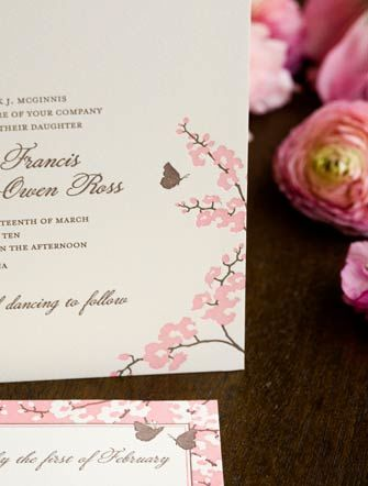 Butterfly and orchid wedding invitation