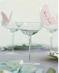 Butterfly seating card on glass