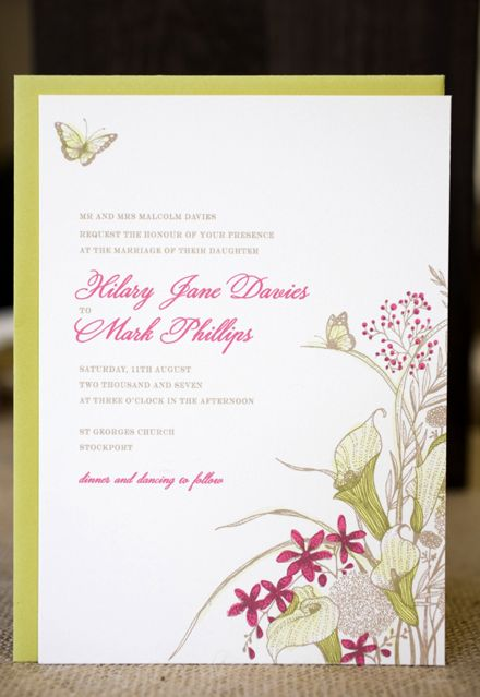 Butterfly & cala lily wedding invitation