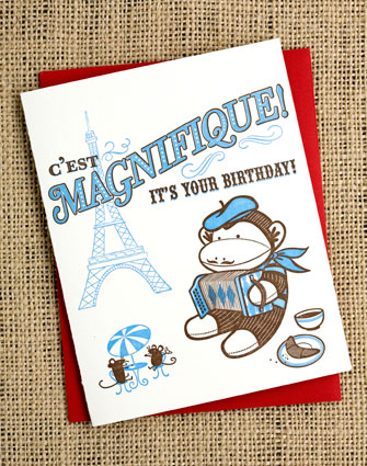 French sock monkey greeting card