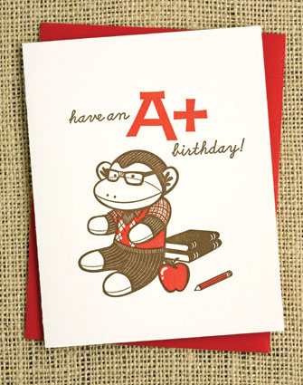Nerd Sock Monkey Greeting Card