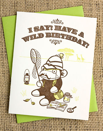 Safari Sock Monkey Greeting Card