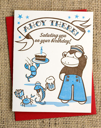 Sailor Sock Monkey Greeting Card