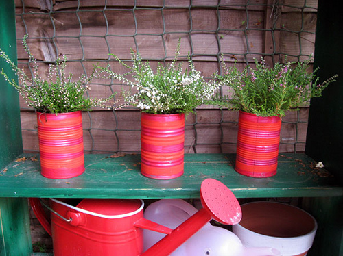 Red tin cans