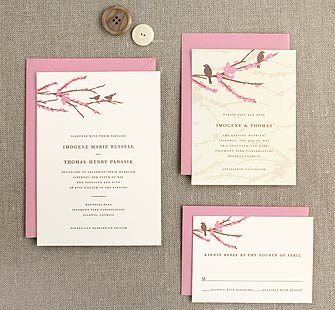 Sparrow Wedding Invitation in Rose