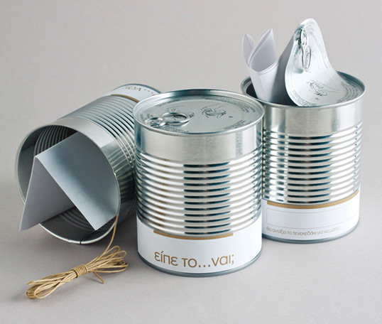 Tin Can wedding invitation
