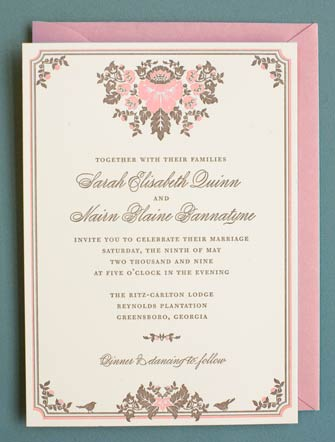 Hello!Lucky Joel Dewberry Woodland Damask Wedding Invitation