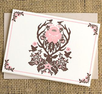Woodland Damask Blank Card