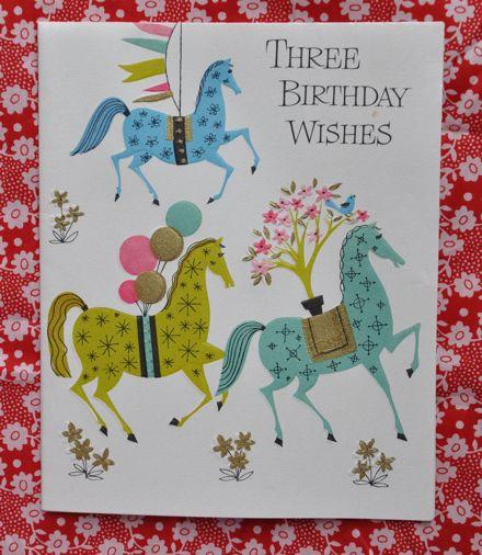 3 Horses Birthday Card