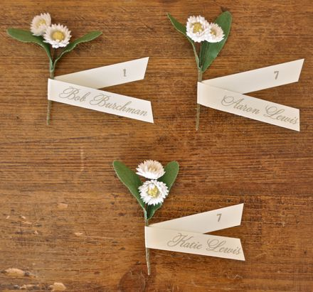 Milinery flower seating cards