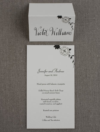 French Deco menu and place card