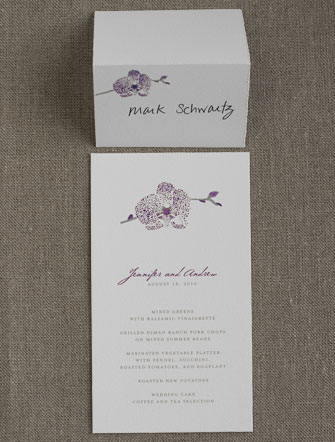 Orchid Menu and Place Card