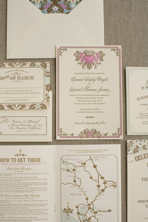 Woodland Damask Wedding Invitation Suite