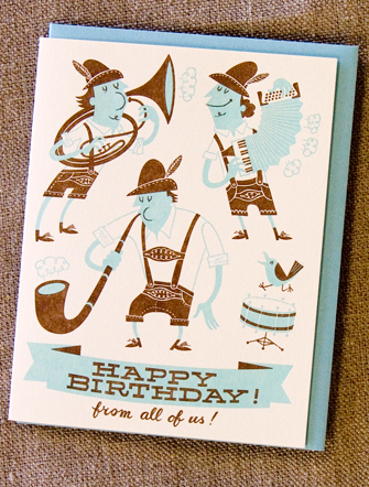 Oompah Band Letterpress Card
