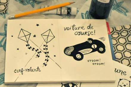 Voiture de Course French flash card