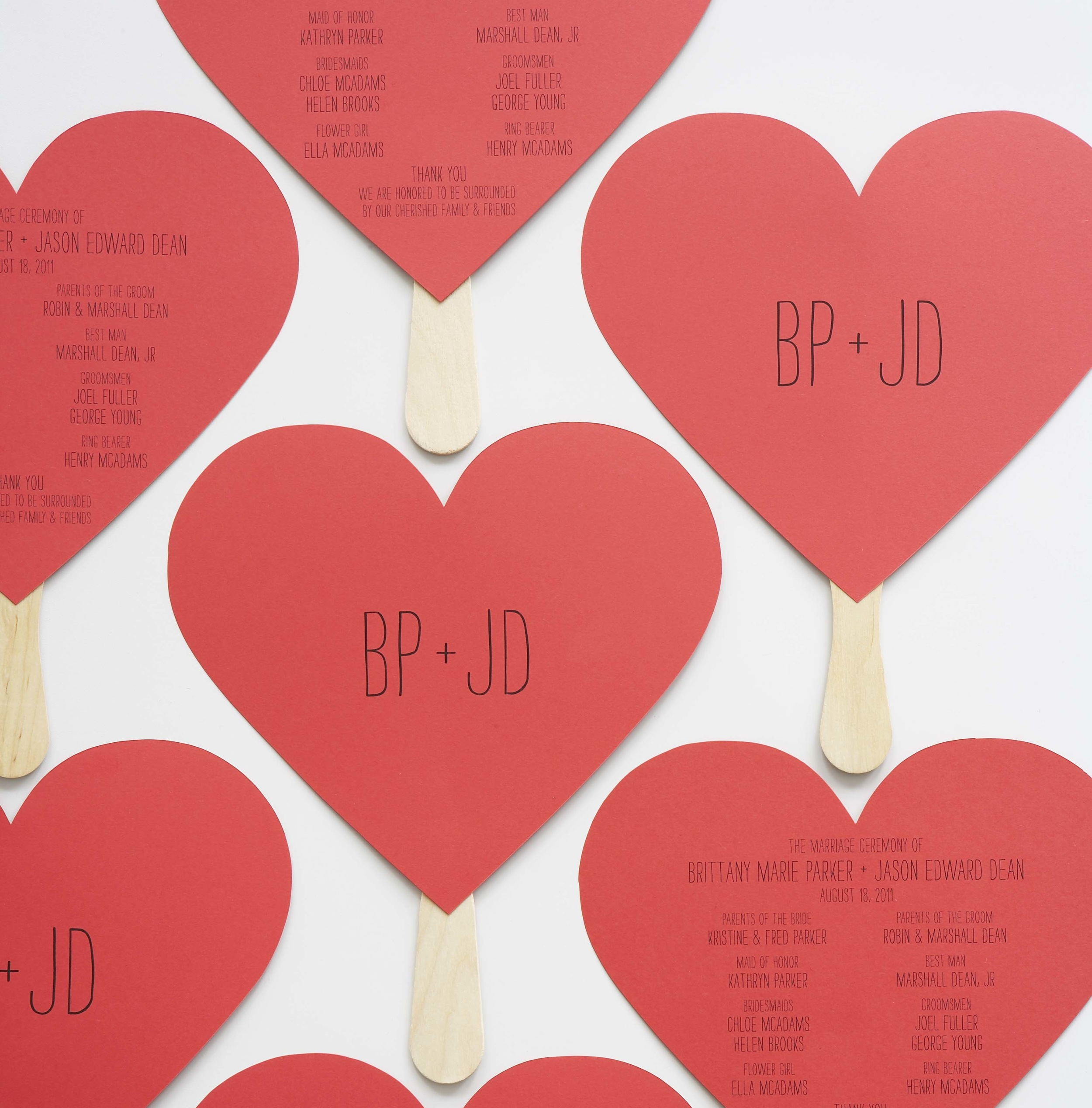 wedding diy heart shaped programs — hello lucky