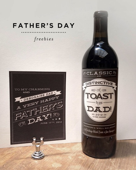 Father's Day is right around the corner and this year we've got your one-of-a-kind gifts covered. You can jazz up a simple pair of socks, a bottle of wine, or a bottle of beer with these manly labels we've designed. Do you have a handsome and debonaire Dad? Print out our matching labels for a black pair of socks and a nice bottle of wine. We even created a slick card to match!