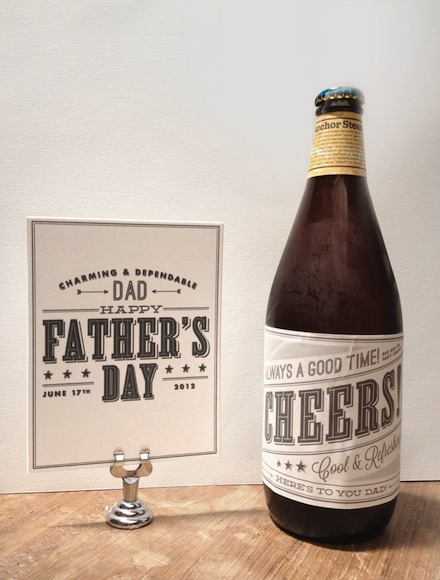 We printed ours on label paper which made sticking them to the bottles and socks a little easier, but these would look just as nice printed on regular white paper or card stock.    Simply click on the links below to print your free Father's Day cards and labels. Enjoy!    Sock Bands    Father's Day Card in White    Father's Day Card in Black    Wine & Beer Labels       And as always we love seeing our printables in action - so send us pics or post them directly to our   Facebook page  . And tell Dad we said Happy Father's Day too.