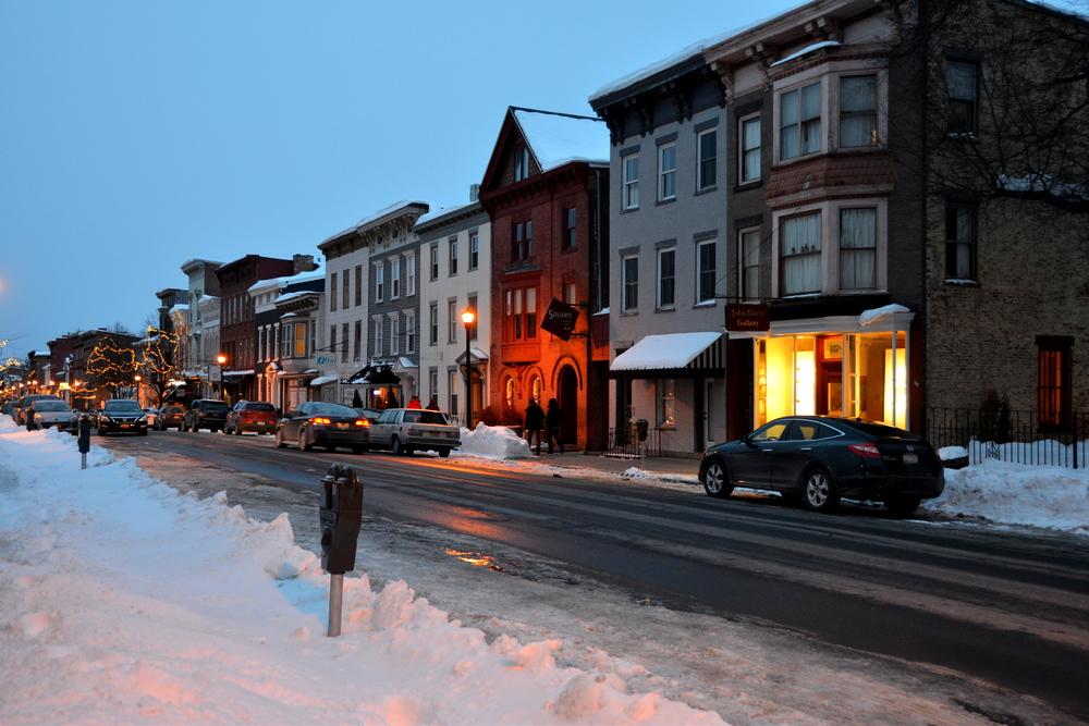 Warren St, Hudson at dusk